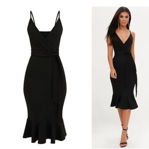2bc1f262cd81 PrettyLittleThing Dresses - Black Strappy Tie Waist Fishtail Midi Dress .Size:2